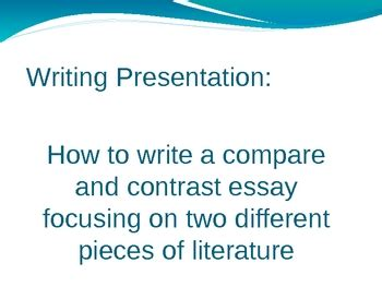 Write a comparecontrast paper on character perspective